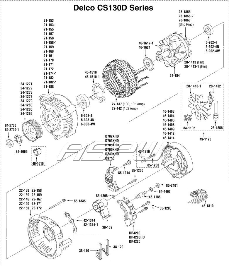 exploded views alternator parts - starter parts