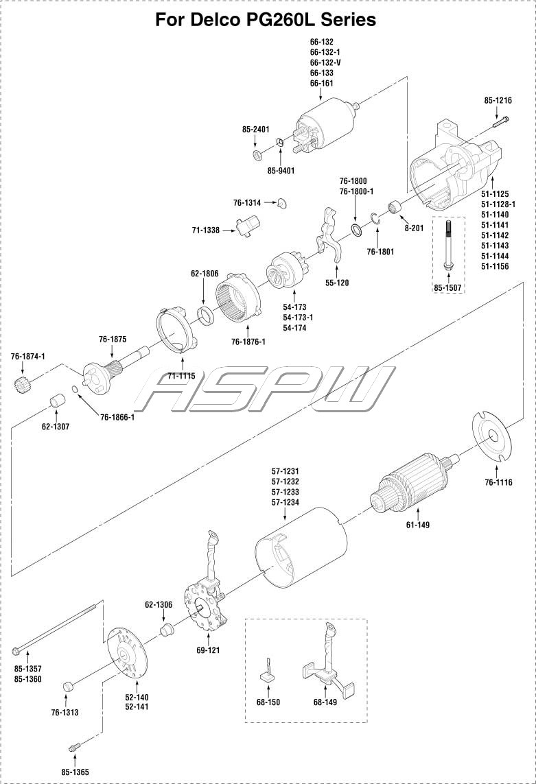 ford gear reduction starter parts diagram