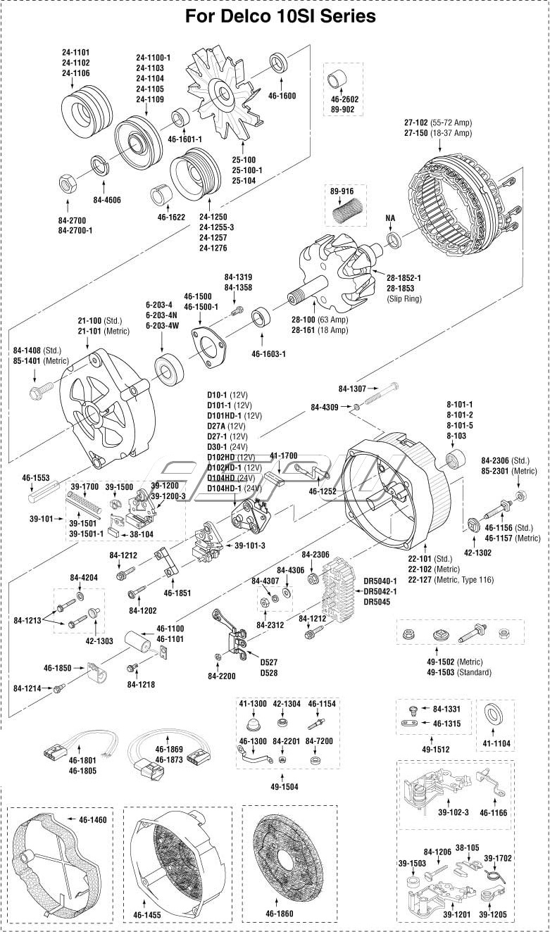 4 wire gm alternator wiring diagram 12v delco alternator partsalternator parts, starter parts ... gm alternator parts diagram